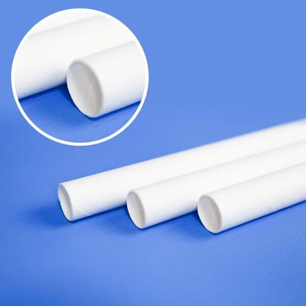 画像1: 紙ストロー 小粒のタピオカ用 やや短め ストレート ホワイト(白) 裸 10x180mm (1)