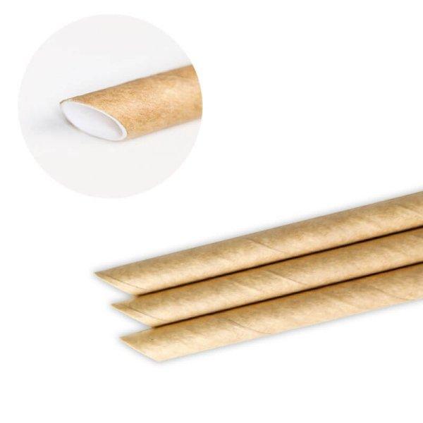 画像1: 紙ストロー ミニサイズ 片先斜めカット 未晒し(クラフト) 裸 5x125mm (1)
