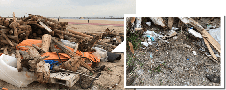 浜辺に大量のゴミが打ち上げられた様子の写真