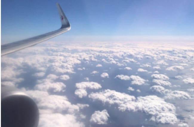 往復している時の飛行機からの写真