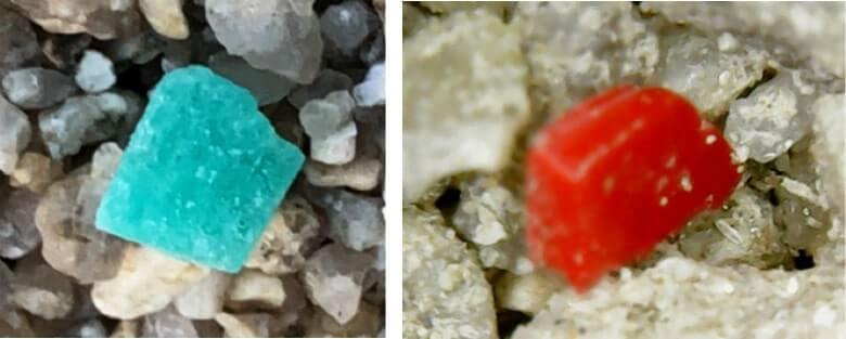 様々なカラーのマイクロプラスチックの拡大写真
