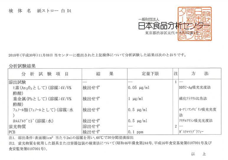紙ストローの検査成績書の画像