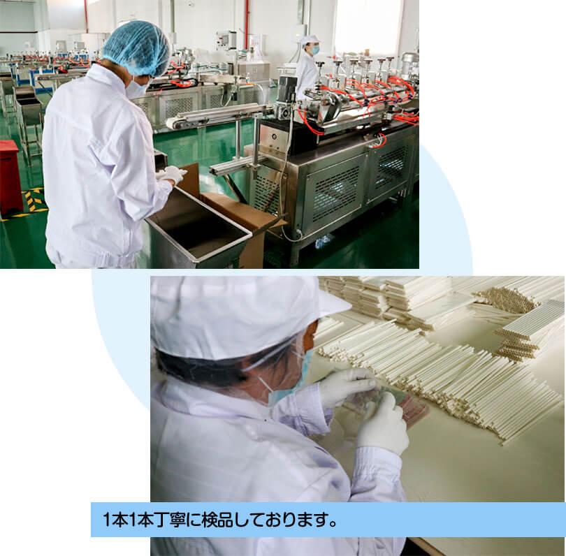 清潔な工場で生産される紙ストロー