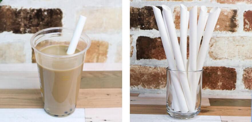 紙ストロータピオカ用斜めカット白のイメージ写真