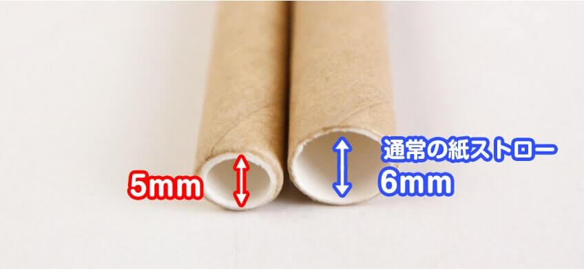 通常タイプの紙ストローと口径を比べた写真